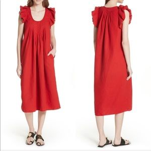NEW • The Great • Flutter Tulip Midi Dress Poppy